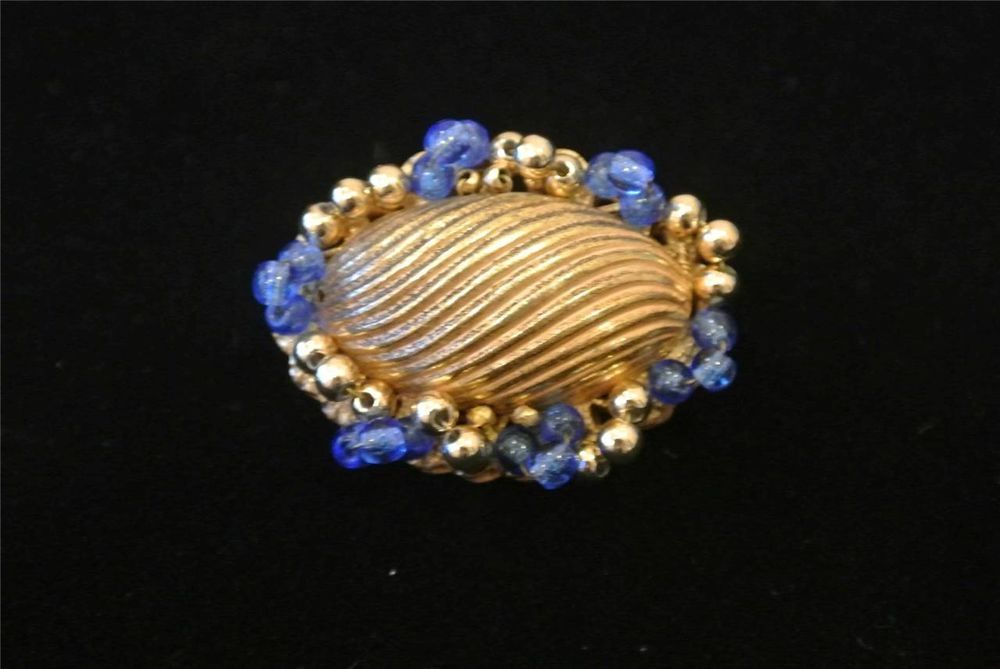 Vintage Signed Miriam Haskell Brooch Pin Small Blue Beaded Fluted Oval Pin #MiriamHaskell
