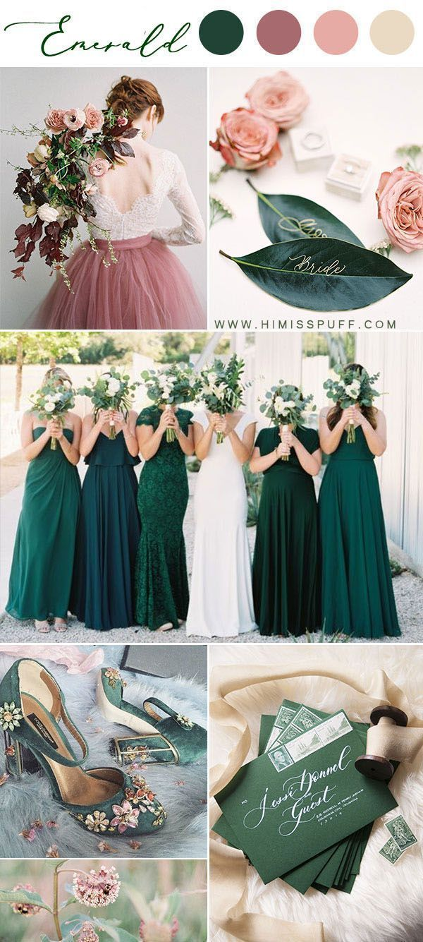14 Dark Green Emerald Wedding Colors  Palettes