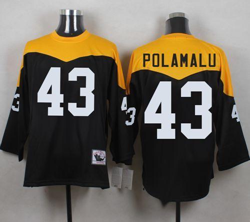 4853e1676da ... Mitchell And Ness 1967 Steelers 43 Troy Polamalu BlackYelllow Throwback  Mens Stitched NFL ...