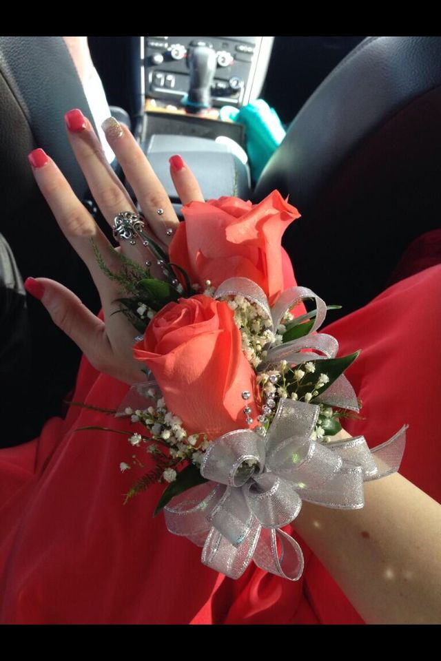 Coral Prom Corsage and Boutonniere