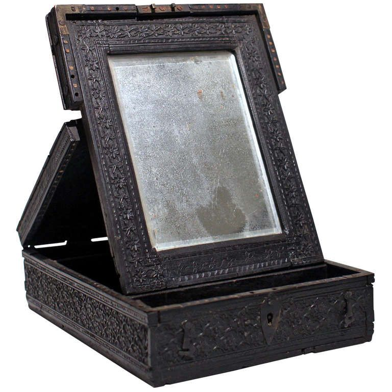 19th Century Travel Box With Mirror, Anglo-Indian