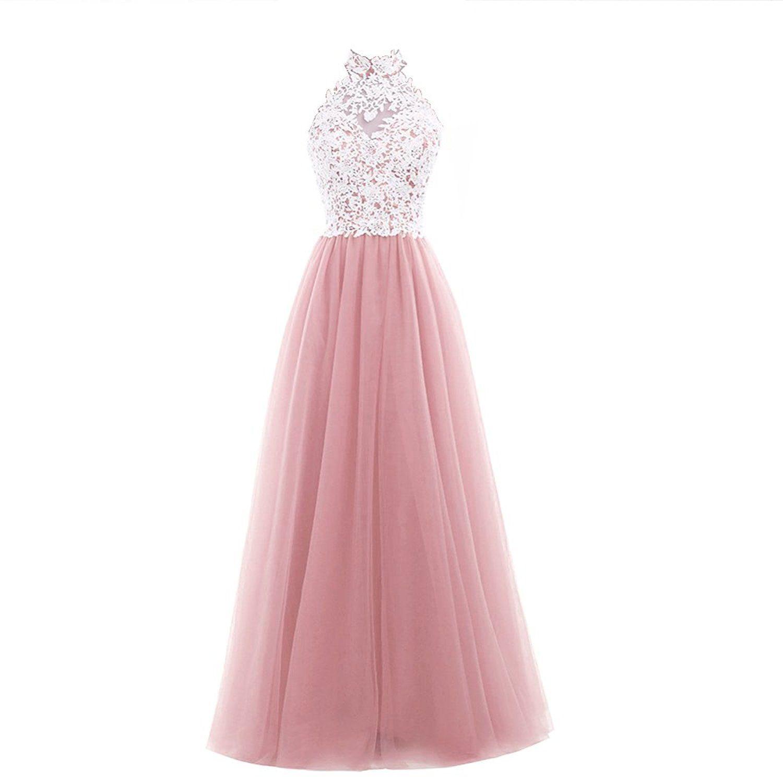Damen A-Linie Zwei Teile langes Lace Tuell Abendkleid Ballkleid