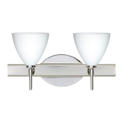 Mia Chrome Two-Light LED Bath Vanity with Opal Matte Glass