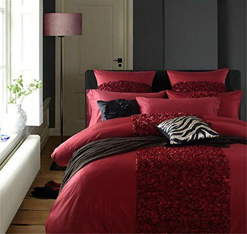 Romantic Baroque Luxury Rose 4 Piece Duvet Covers Sets California King Red