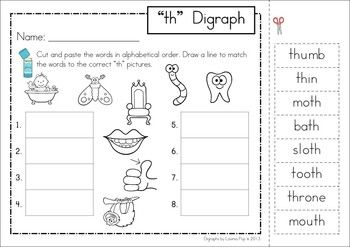 Th Digraph Word Work Unit Phonics Words Digraph Teaching Digraphs Th digraph worksheets first grade