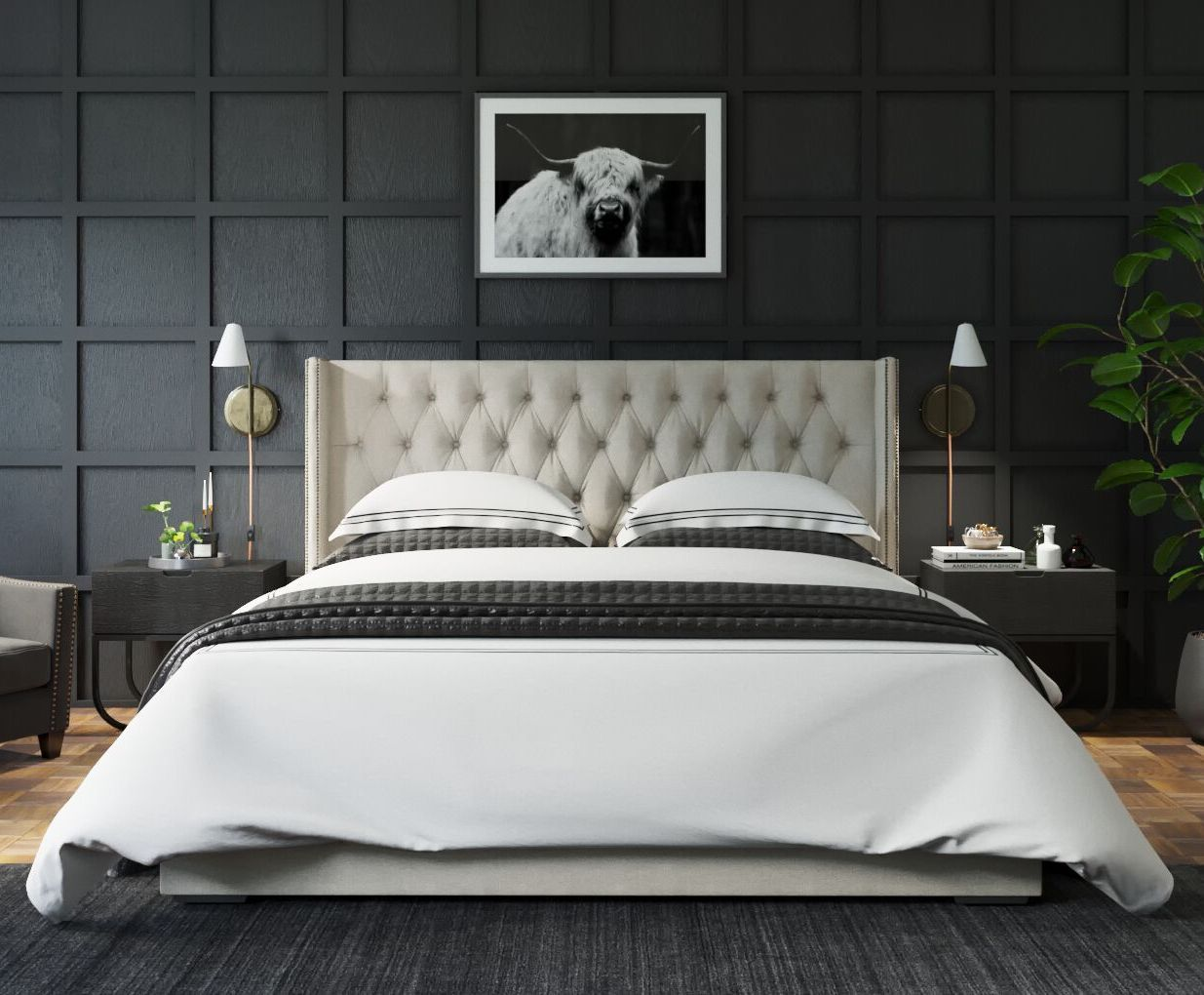 79b90f2190ac3 The Stella Gas Lift King Size Bed Frame is a beautiful and elegantly tufted  bed set