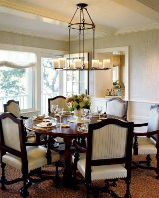 I love the idea of a round dining room table where everyone can see