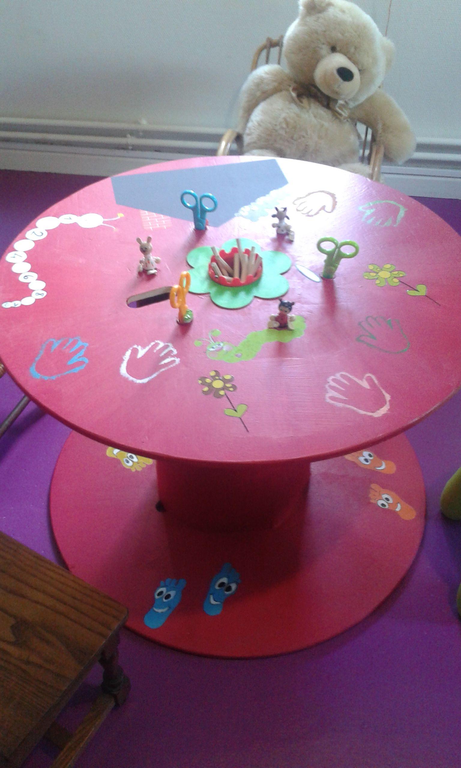 r cup touret transform en table de jeu construction recup pinterest cable reel and grandkids. Black Bedroom Furniture Sets. Home Design Ideas