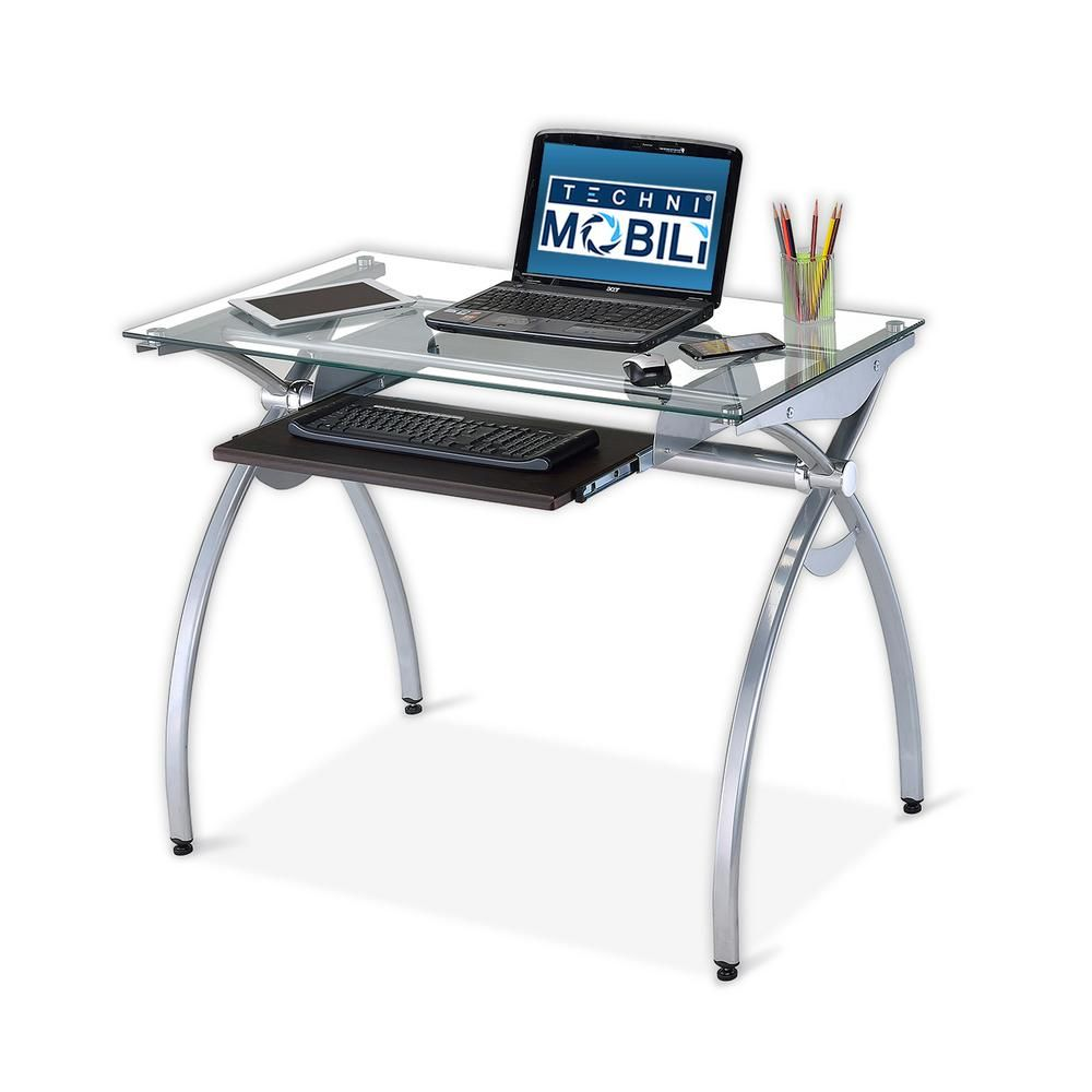 Contempo Clear Gl Top Computer Desk With Pull Out Keyboard Panel