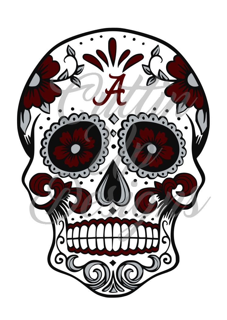 Alabama Crimson Tide Sugar Skull Svg Cutting File For