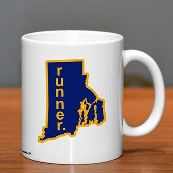 Rhode Island Runner Ceramic Mug - Show off your pride for Rhode Island with this great Rhode Island Runner Ceramic Coffee Mug.