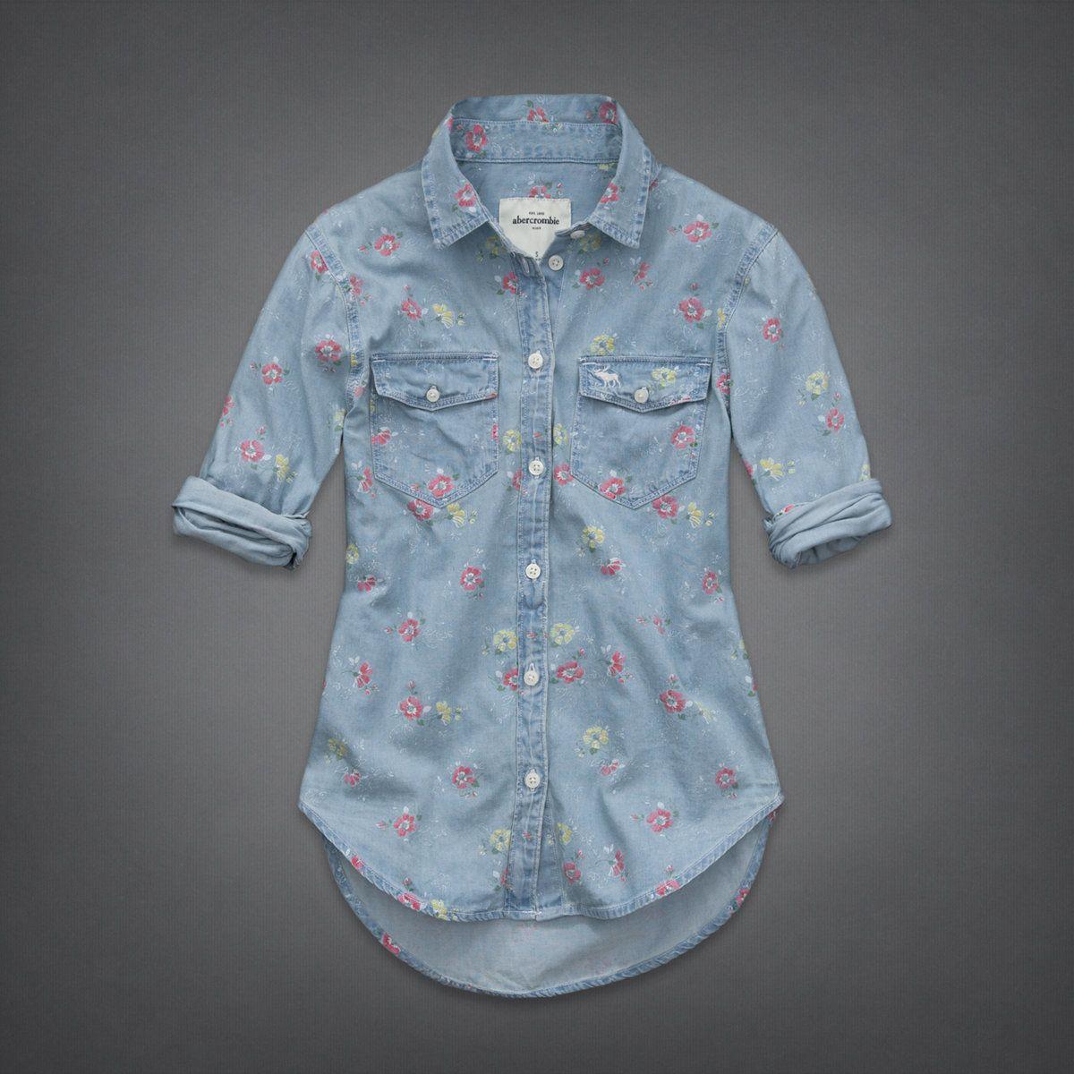 girls alana denim shirt   girls shirts   uk.abercrombiekids.com