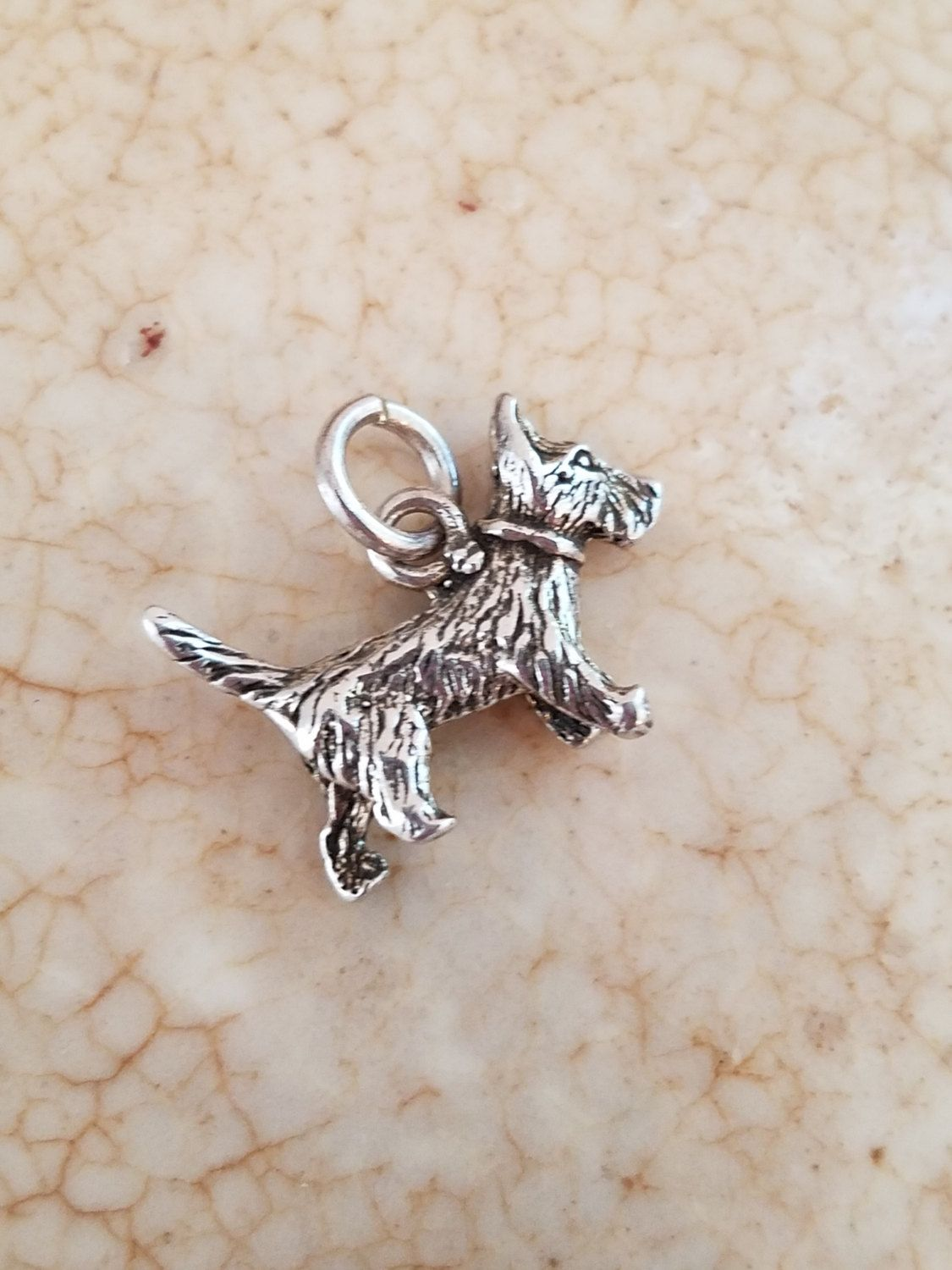 f538e783504 Sterling silver dog charm Schnauzer charm pendant -LR1394a by Andiesvintage  on Etsy