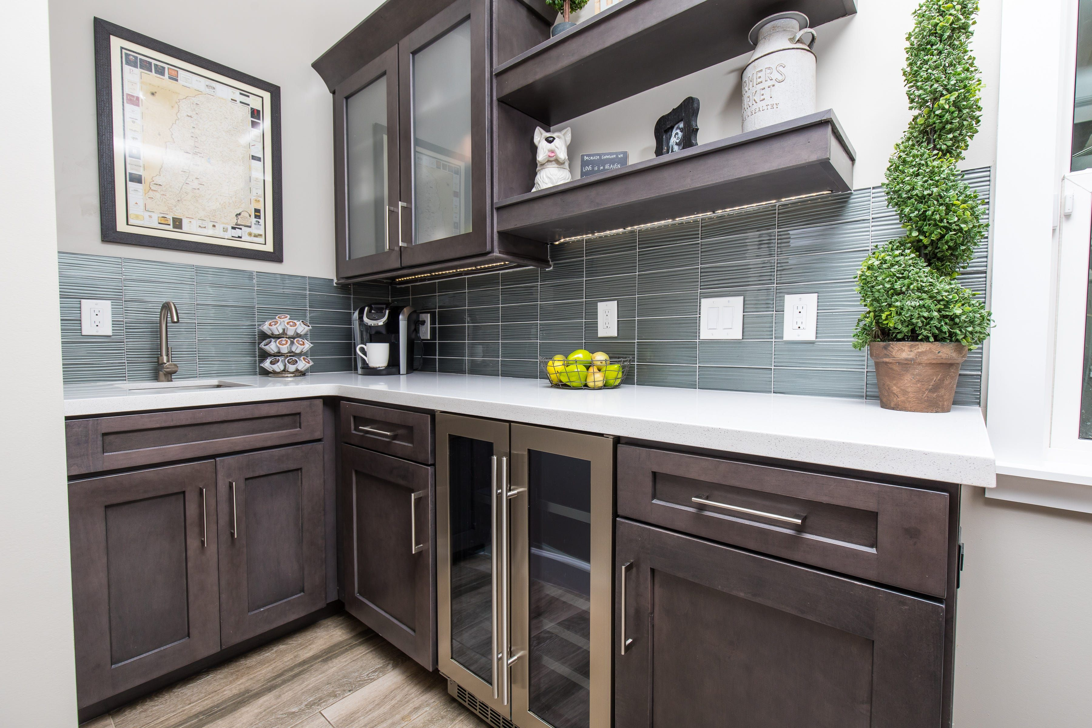 Slate Coffee And Wine Bar With Open Shelving Cabinets Com Kitchen Remodel Small Slate Kitchen Kitchen Remodel