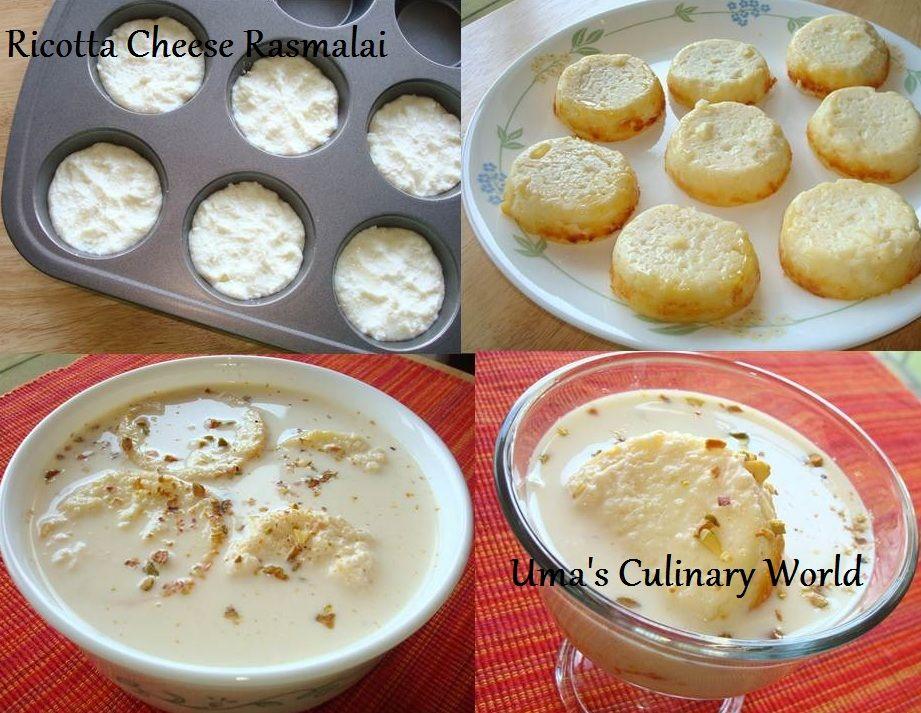 Uma S Culinary World Easy Baked Ricotta Cheese Rasmalai Indian Dessert Recipes Baked Ricotta Ricotta Cheese