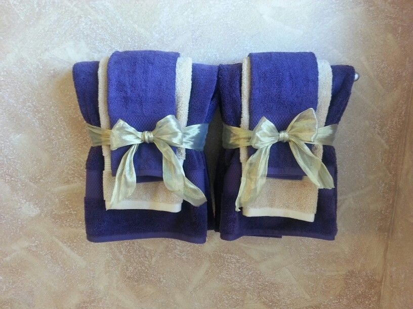 Decorative Bathroom Towels In Purple And Gold Theme Fancy Towels Bathroom Towel Decor Guest Room Decor