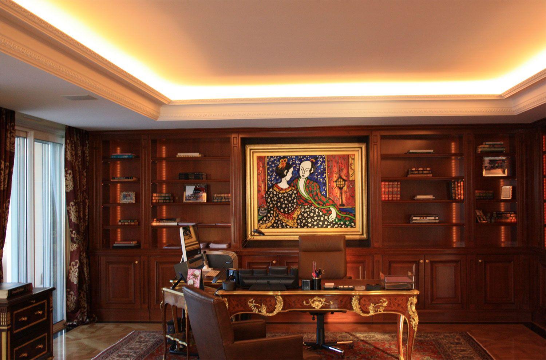Epic Realisierung von Gipsdecken und Gesimsen im Klassischen Stil mit integrierter indirekter Beleuchtung und Belueftung Appartment