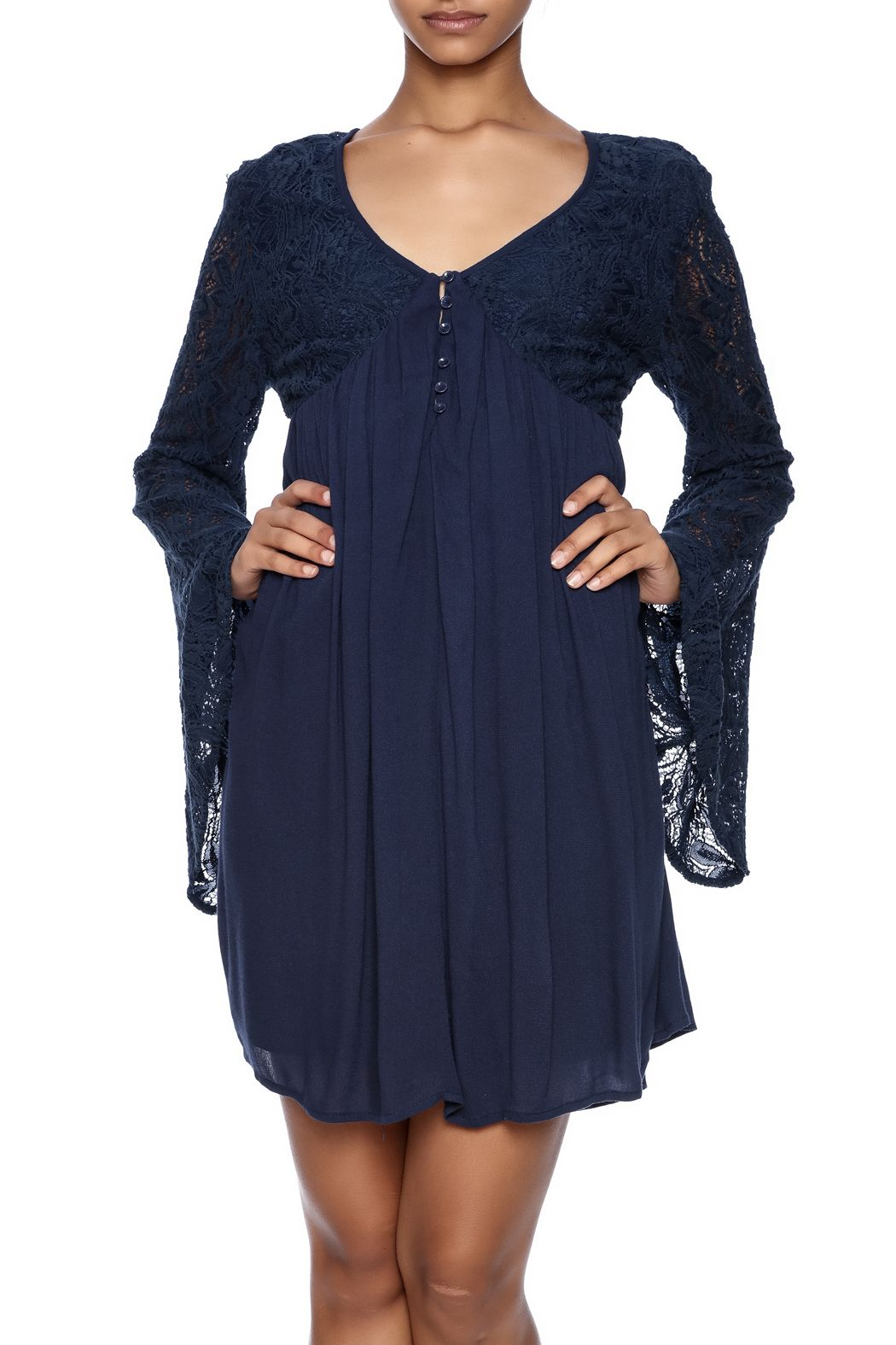 Navy blue dress with long bell lace sleeves, sheer back and a lined skirt.    Leanne Lacy Dress by LoveRiche. Clothing - Dresses - Long Sleeve California