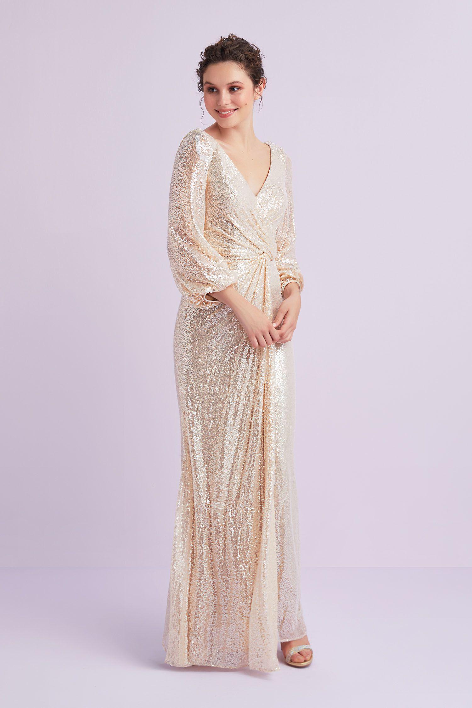 Sampanya Rengi Uzun Kollu Payet Islemeli Abiye Elbise Oleg Cassini Elbise Aksamustu Giysileri The Dress