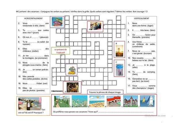 Present De L Indicatif Les Vacances Fiches Pedagogiques Exercice Verbe Vacances