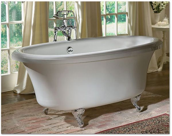 Aquatic Serenity 10 and 37 Clawfoot Tub shown with Freestanding Water Supply-lines and Vintage Style Clawfoot Tub Faucet