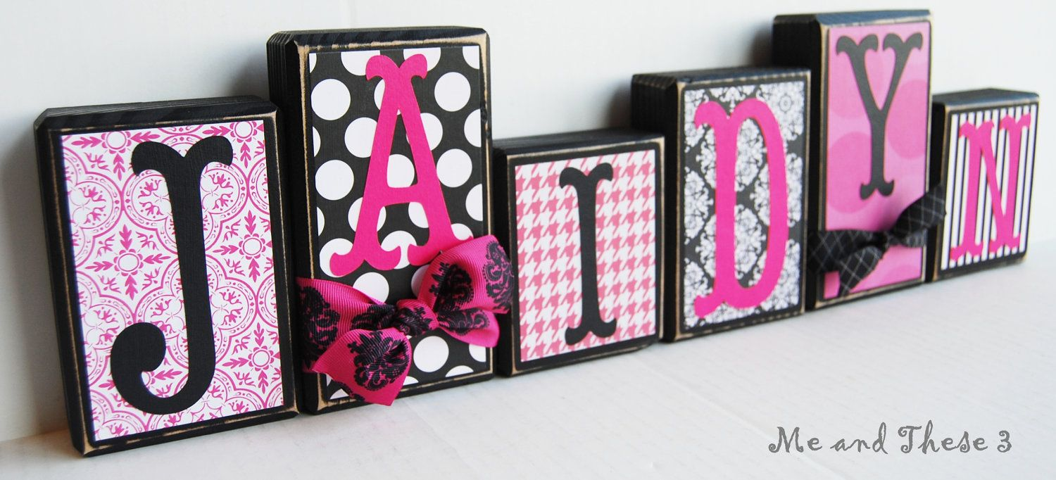 Wooden letter blocks customized with your colors and style -hot pink ...