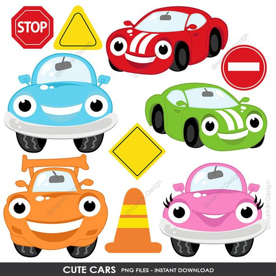 Cute Cars Clipart Transportation Clip Art On The Road Road Sign Boys Graphic For Craft Scrapbo Cute Cars Cars De Disney Cars Birthday Party Disney
