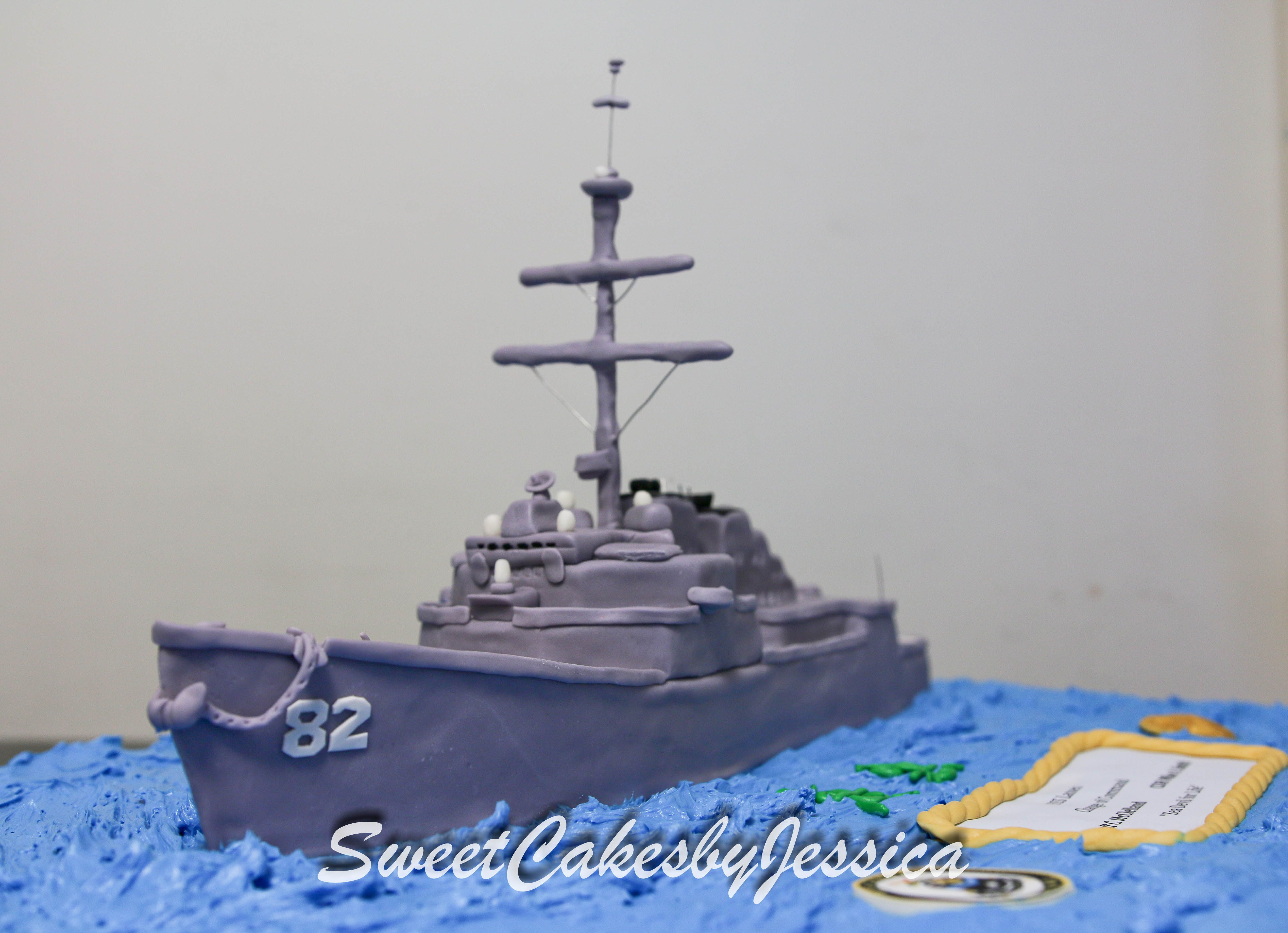 Superb Military Ship Cake Us Navy Cake With Images Navy Cakes Dad Funny Birthday Cards Online Inifodamsfinfo