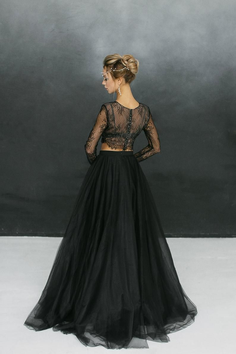 Black Crop Top Wedding Dress Black Long Sleeve Lace Two Piece Etsy Crop Top Wedding Dress Top Wedding Dresses Black Wedding Dresses [ 1191 x 794 Pixel ]