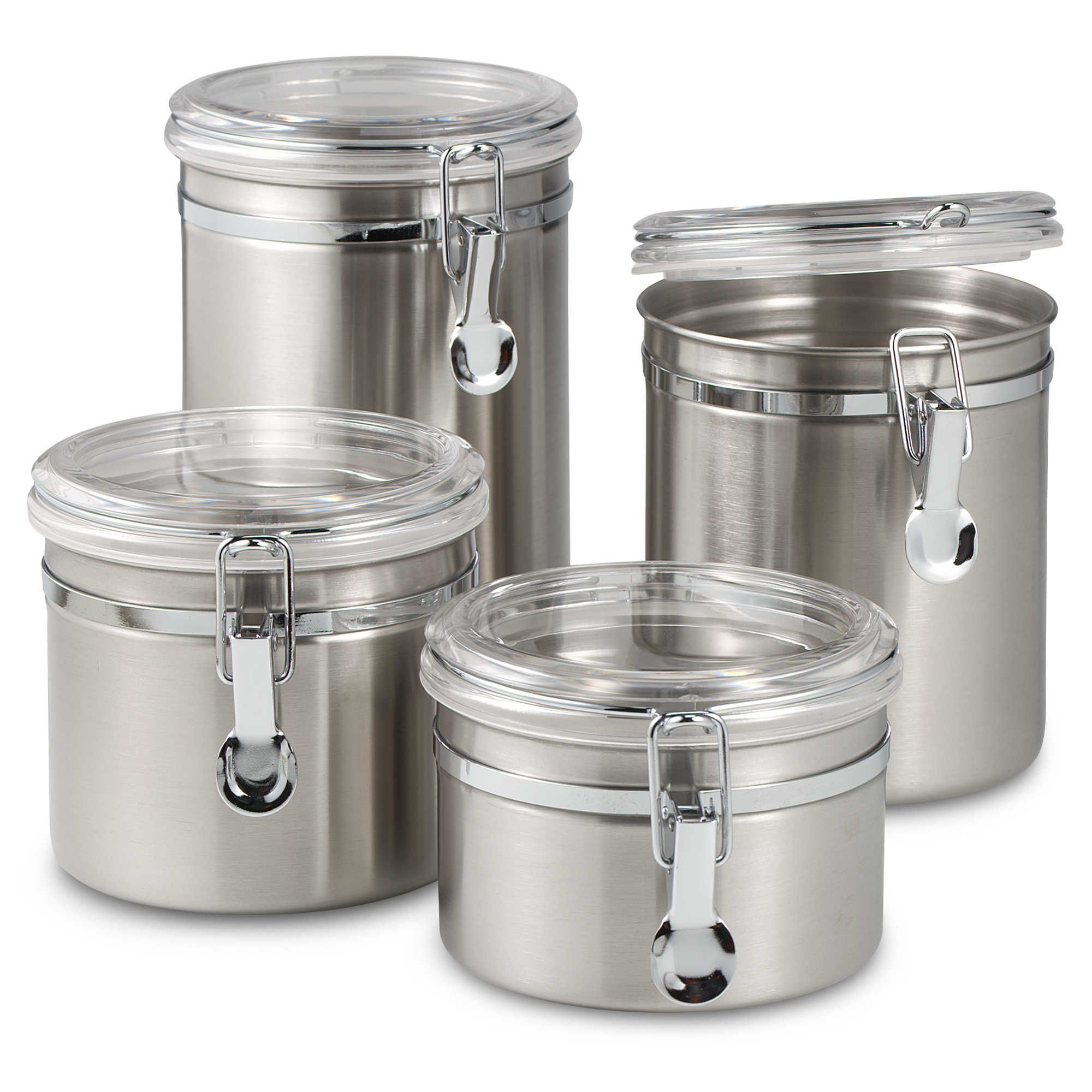 Stainless steel storage containers for kitchen - Oggi Airtight Stainless Steel Canisters With Acrylic Tops Set Of 4