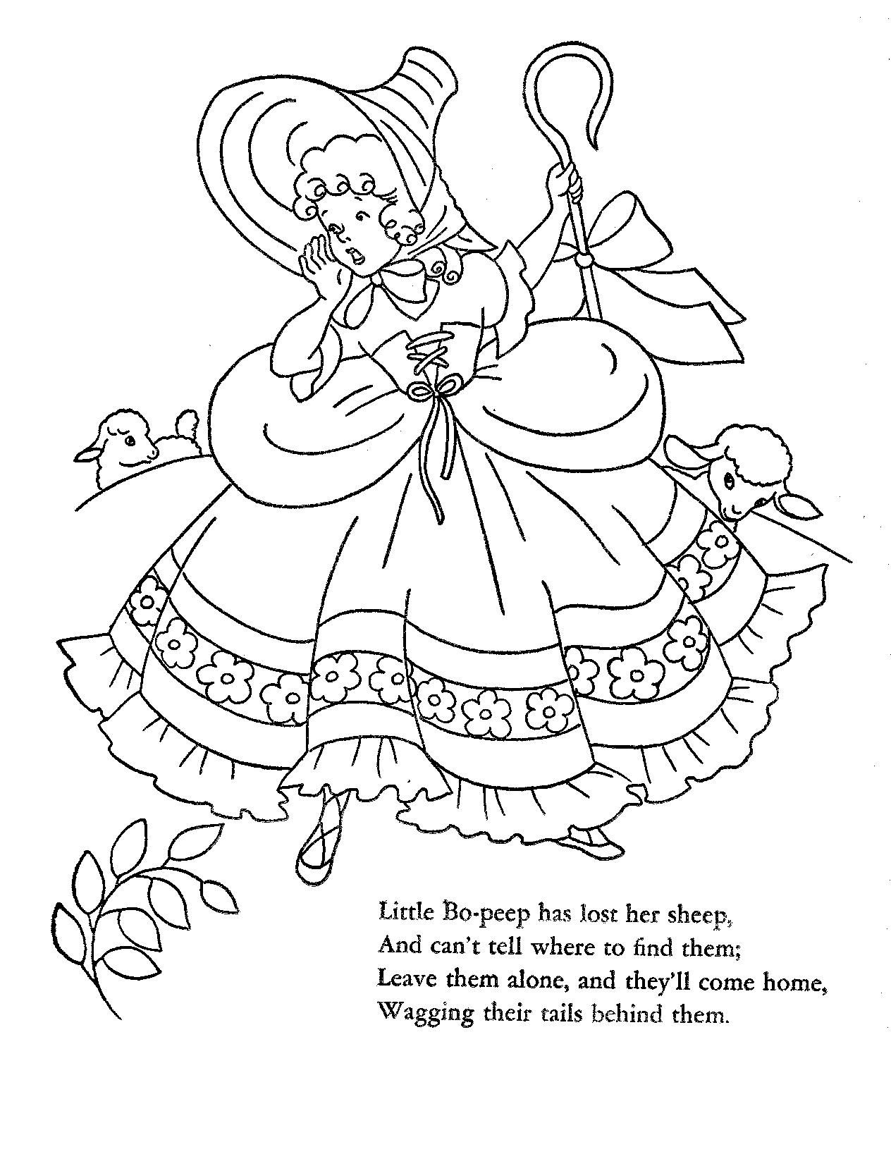 1952 Mother Goose Cut-Out Coloring Book | nursey rhymes embroidery ...