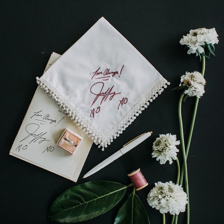 Wedding Handkerchief Handwritten Embroidery Exclusively By The Handkerchief Shop Embroidered Handkerchief Wedding Personalized Handkerchiefs Engagement Gifts
