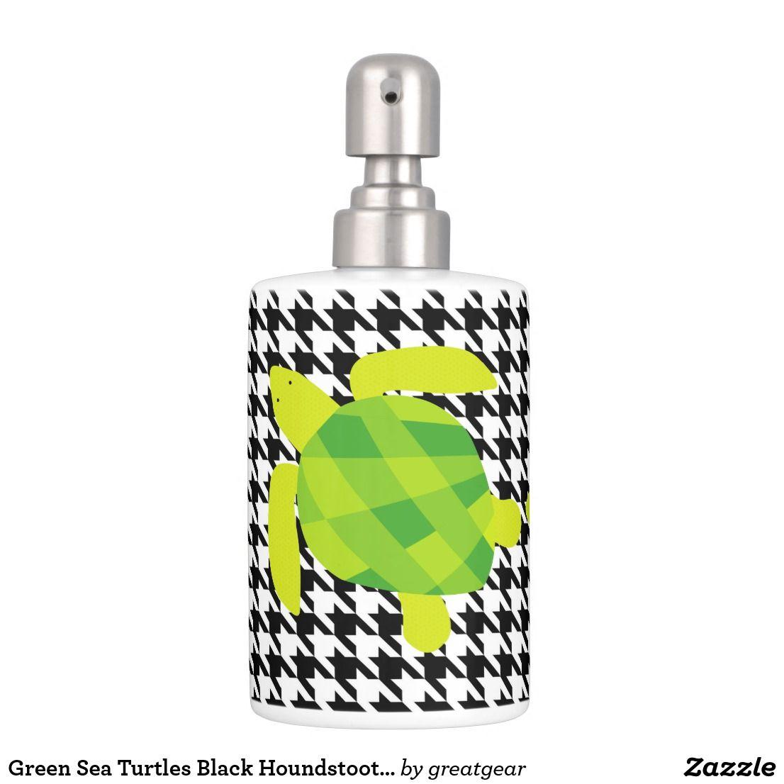 Green Sea Turtles Black Houndstooth Bathroom Set | Bath accessories ...