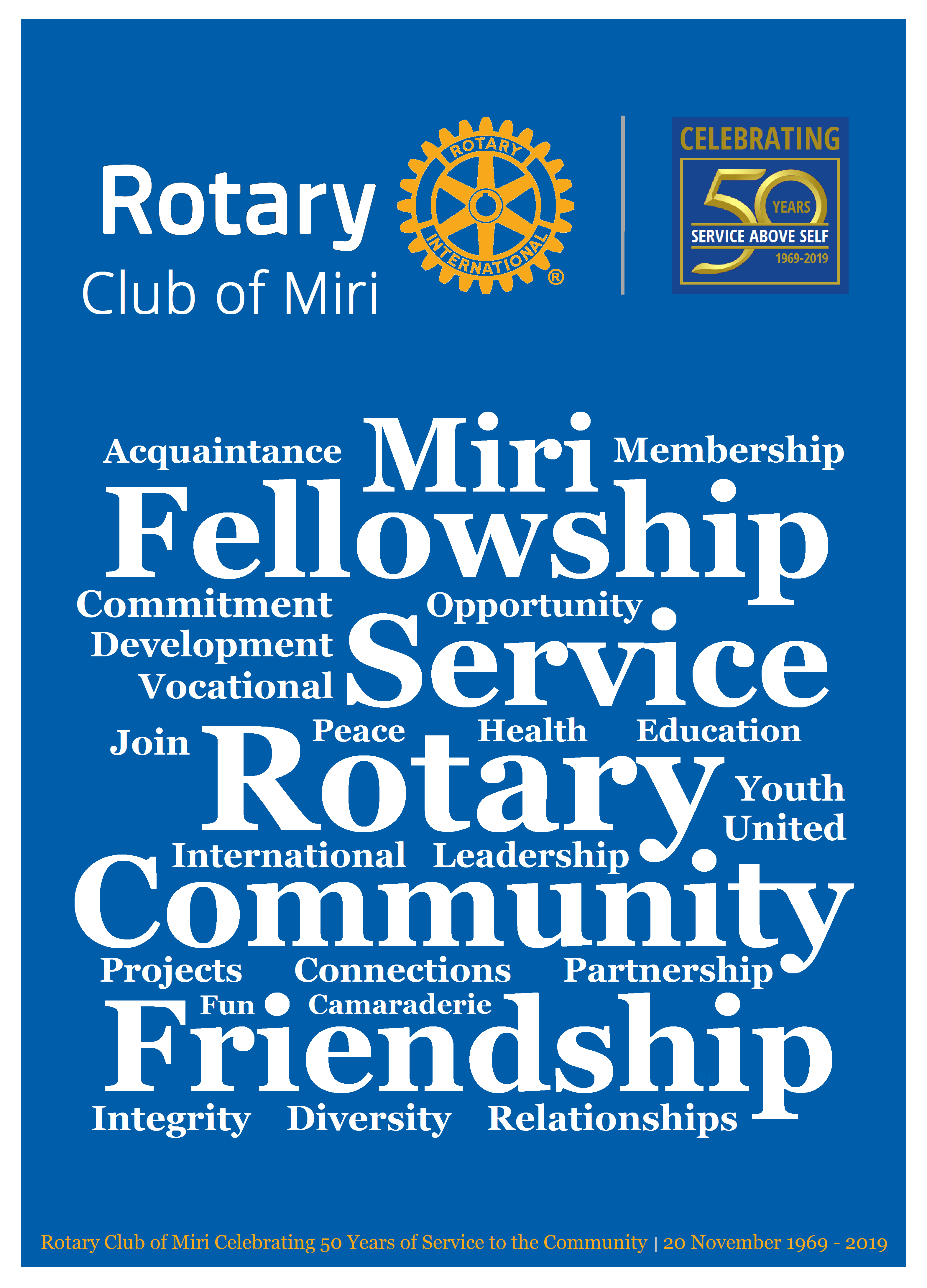 Rotary Club Of Miri Mini Poster 50 Anniversary Word Cloud By Gt Rotary Club Anniversary Words School Clubs