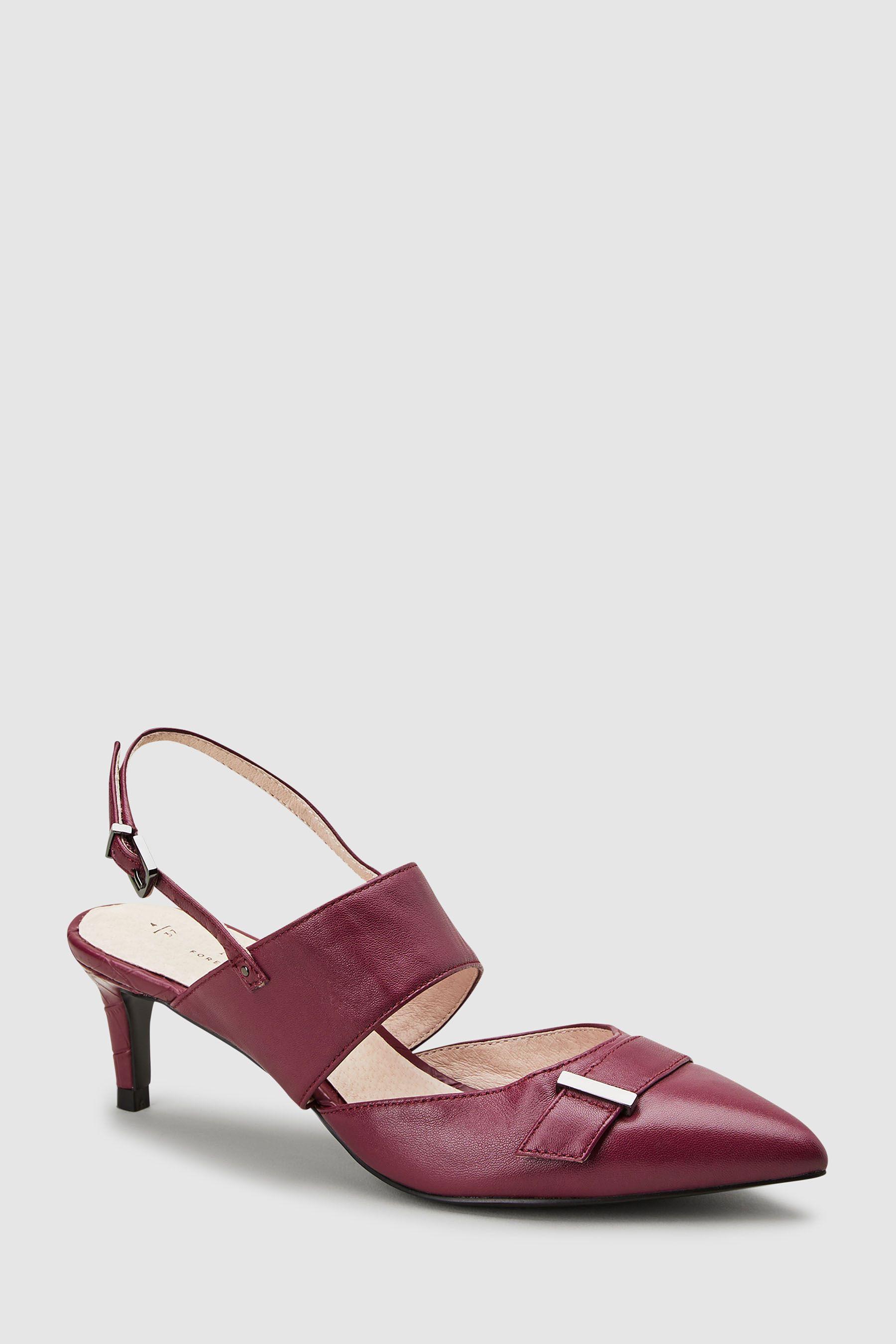 23b7a5f3d54b Womens Next Plum Leather Hardware Kitten Heels - Purple