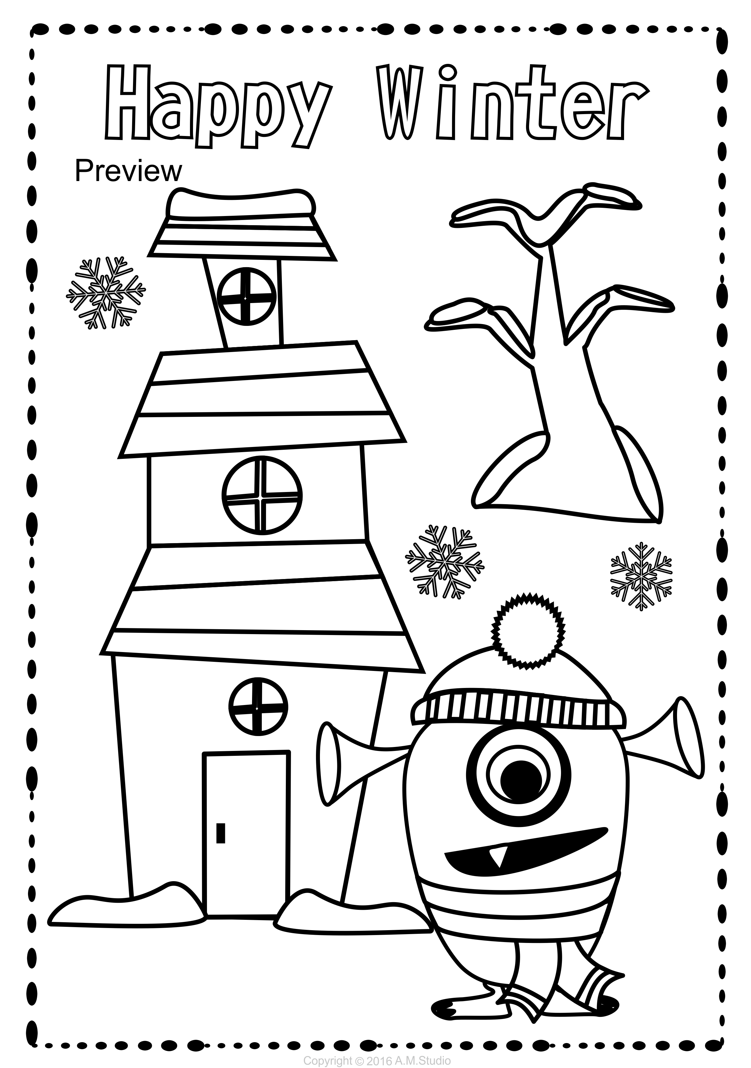 This Winter Coloring Pages Activity Includes 25 Different