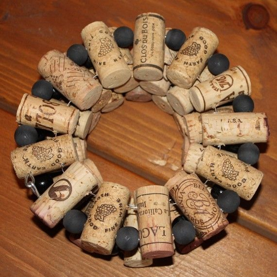 Wine cork trivet with 12 corks and 1 large bead between each