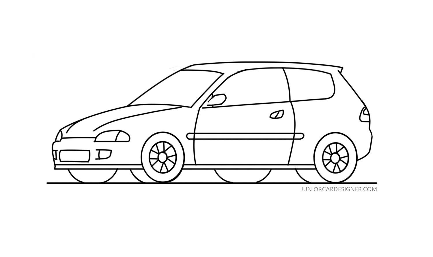 How To Draw A Honda Civic In 2020 Honda Civic Car Drawings