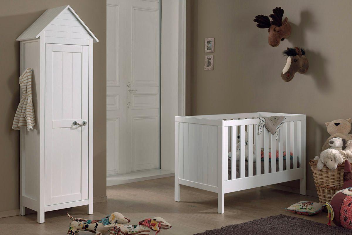 ensemble 2 pi ces pour chambre b b avec lit 60x120 et armoire 1 porte coloris blanc chambre. Black Bedroom Furniture Sets. Home Design Ideas