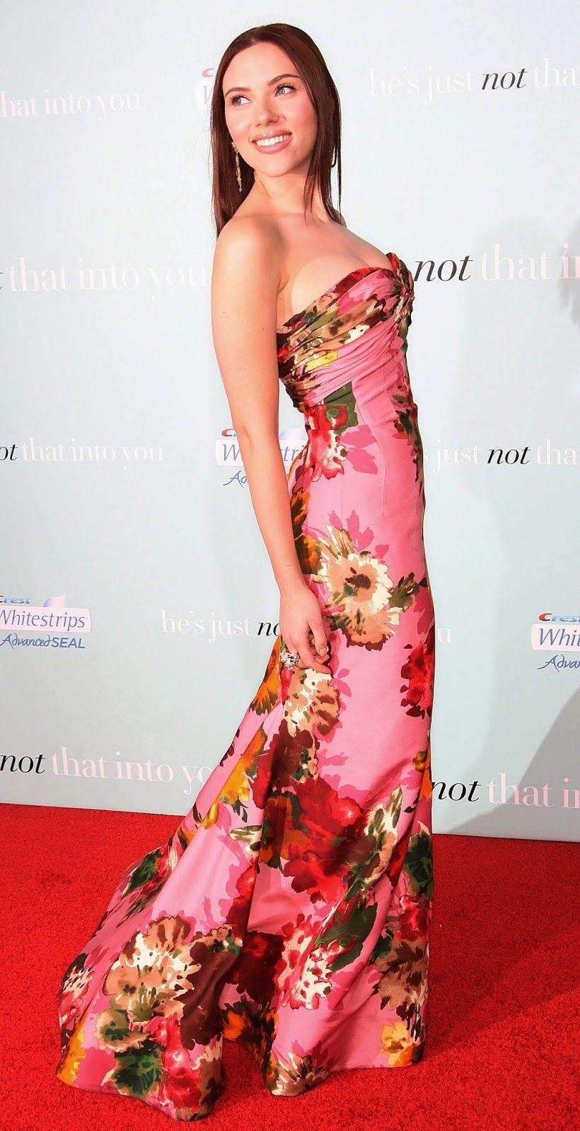 1c5b9bb87b Scarlett Johansson gorgeous pink floral dress and straight brunette hair