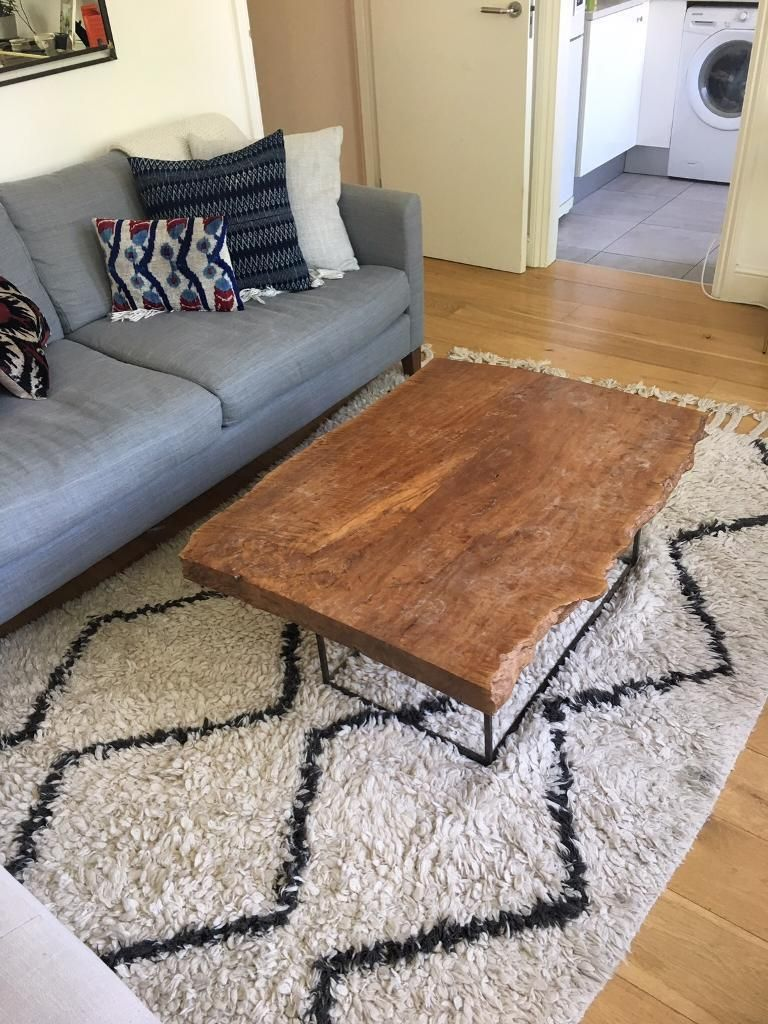 Rug from West Elm with light wear and tear. Coffee table