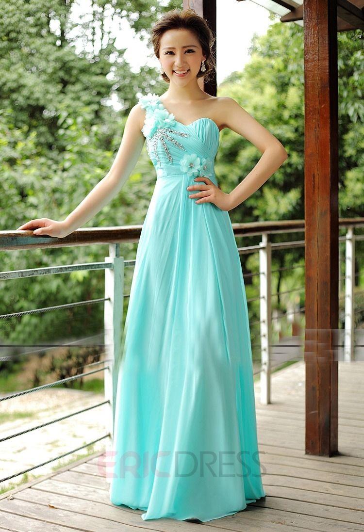 Beautiful aline oneshoulder flower floor length bridesmaid dress