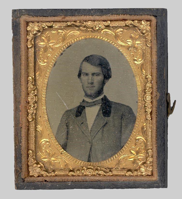ambrotype photo gold frame sm 2 in  portrait Civil War Era handsome man antique
