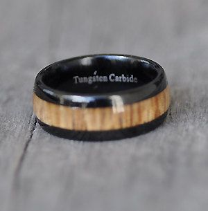 Mens Black Tungsten Carbide with Fiji Orange wood inlay 8mm high polish comfortable fit