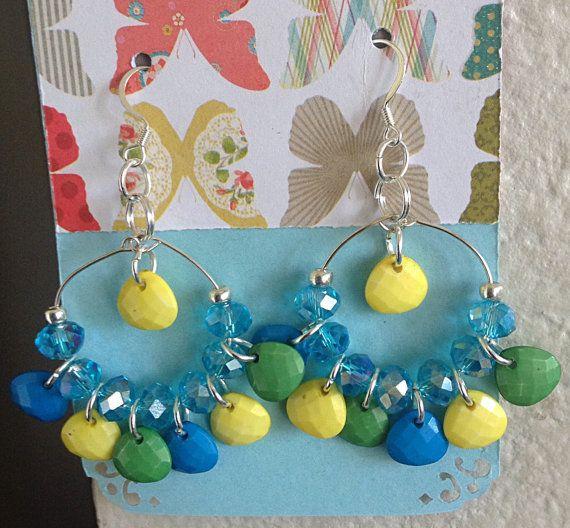 Crystal dangling hoop earrings by juliejewelcollection on Etsy