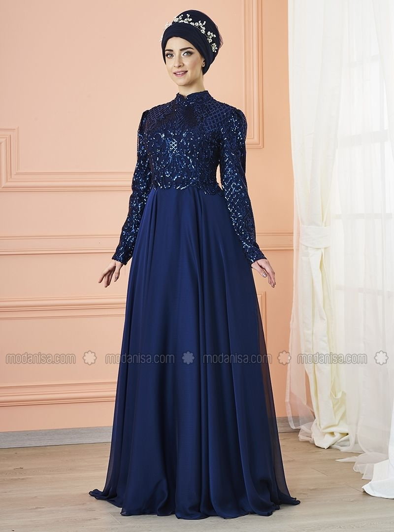 63a16fd841 Navy Blue - Fully Lined - Crew neck - Muslim Evening Dress - Mevra