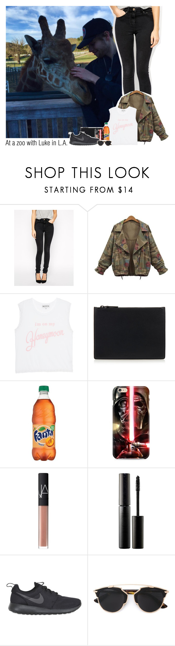 """At a zoo with Luke in L.A."" by ndvalenciano ❤ liked on Polyvore featuring ASOS, Wildfox, Helmut Lang, NARS Cosmetics, Surratt, NIKE, Christian Dior, women's clothing, women and female"