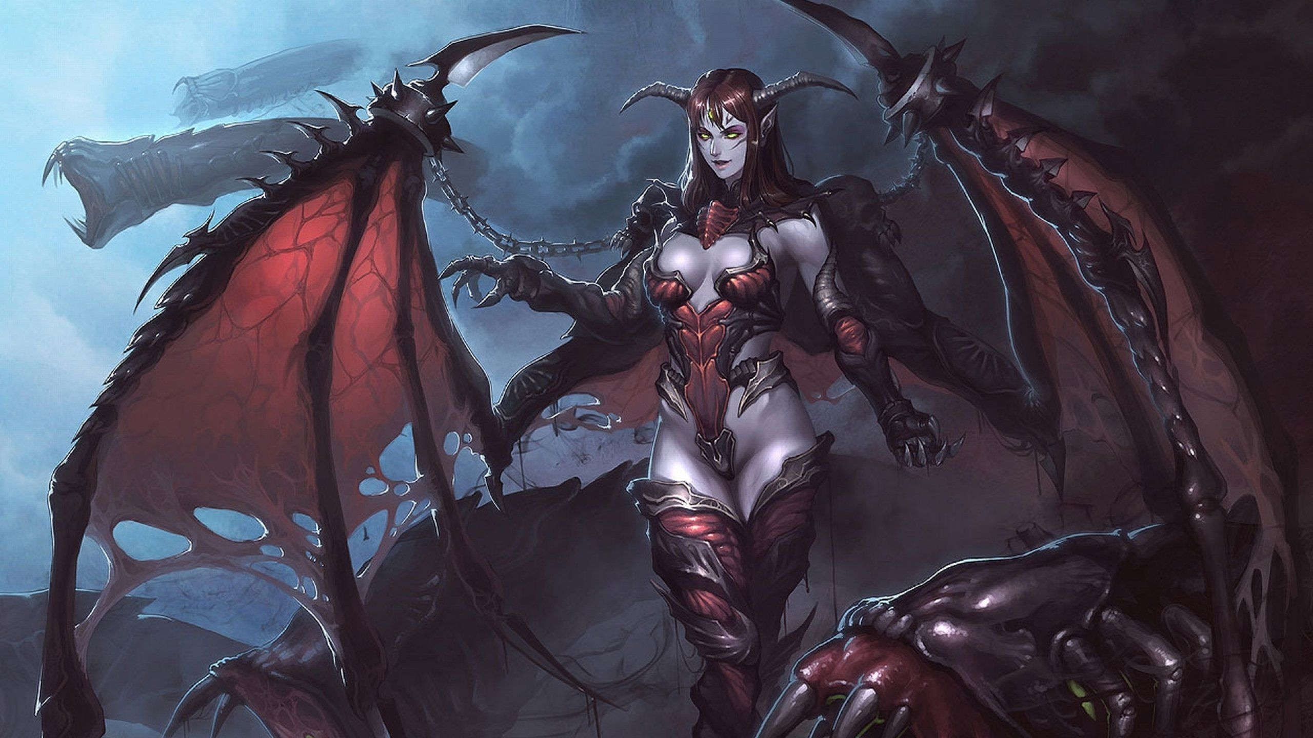 Fantasy demon dark art artwork wallpaper 2560x1440