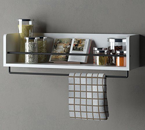 Woodworking Plans For Kitchen Spice Rack: White Kitchen Wood Wall Shelf With Metal Rail Also Multi