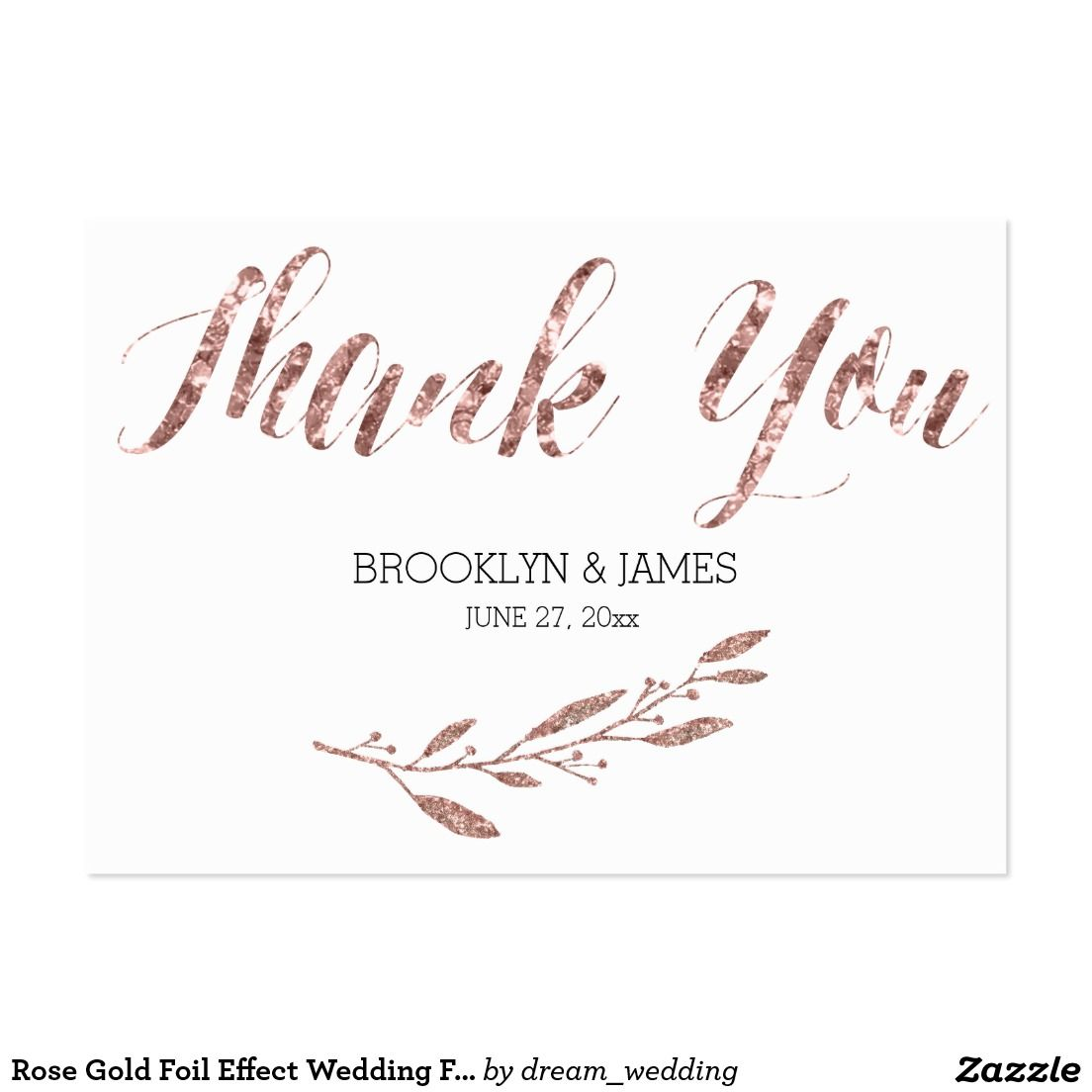 Rose Gold Foil Effect Wedding Favor Tags Floral Large Business Card